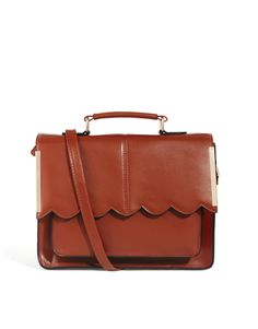 Satchel Bag With Scallop Bar Detail