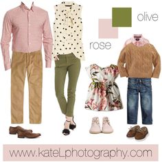 Olive Rose family outfit inspiration: what to wear for a family photo session in the spring or summer. Created by Kate Lemmon, www. Spring Family Pictures, Family Pictures What To Wear, Family Pics, Spring Photos, Family Picture Colors, Family Picture Outfits, Family Portrait Outfits, Family Portraits, Outfits Tipps
