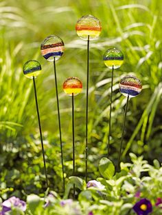 INSPIRATION: Glass (or could be Beaded?!) Lollipop Garden Art Stakes