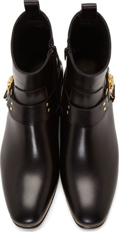 Versace Black Leather Medusa Boots