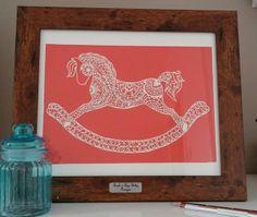 The Stallion Original Handcut Papercut Framed Rocking Horse £85.00