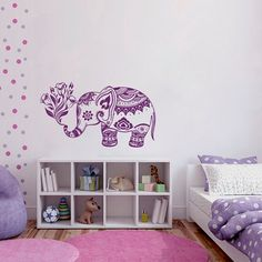 Wall Decals Vinyl Sticker Elephant Flowers Indian by BestDecals