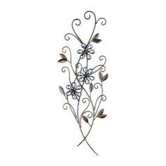 Wallis Blue Jeweled Floral Metal Plaque | Kirklands