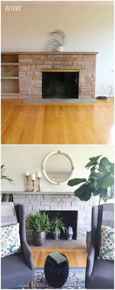 Stone Fireplace Cover Up . Stone Fireplace Cover Up . Painted Rock Fireplaces, Painted Stone Fireplace, Stone Fireplace Makeover, Stacked Stone Fireplaces, Paint Fireplace, Faux Fireplace, Fireplace Remodel, Living Room With Fireplace, Fireplace Design