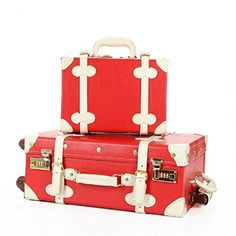 DPIST® Luggage Sets On Sale Vintage & Retro Style Carry-On Trolley Luggage and Cosmetic Tote Bag Set