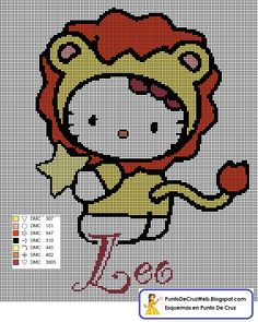 Punto De Cruz Horoscopo Hello Kitty Leo