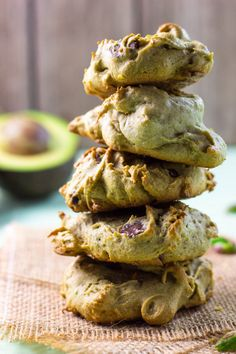 Avocado Cookies with Chocolate Chips & Pistachios. The avocado in these cookies makes them so moist and fluffy! It also gives them a nice green tint!