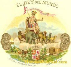 vintage cigar labels   El Rey Del Mundo - antique cigar box label - Cuba Photos - Havana ... Havana Cigars, Cuban Cigars, Cigar Box Art, Cigar Boxes, Female Art, Illustrations Posters, Antiques, Domino Table, Art Paintings