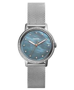 Fossil Women's Neely Stainless Steel Mesh Bracelet Watch 34mm | macys.com
