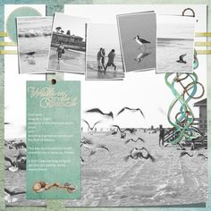 "Love the large photo with the smaller photos at the top. ""Walks On The Beach"" digital scrapbook layout by Janine Buckles"