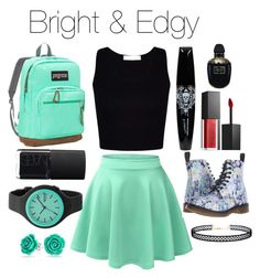 """""""Bright & Edgy"""" by zoeeleary ❤ liked on Polyvore featuring LE3NO, Smashbox, Alexander McQueen, Dr. Martens, NARS Cosmetics, JanSport, LULUS, Rip Curl, Bling Jewelry and edgy"""