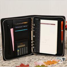 A5 pu leather zipper portfolio, leather portfolio with calculator