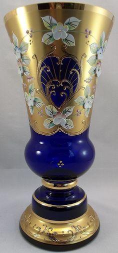 Cobalt Blue Hand Painted Bohemian Vase Art Glass Gold Floral Czech Germann