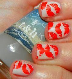 Bright duo colour kiss nail art