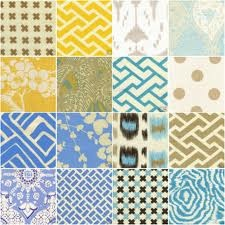 Quadrille fabrics - LR Ottoman, Wallpaper in Guest Bathroom and Laundry Room, Pillows in LR and BR