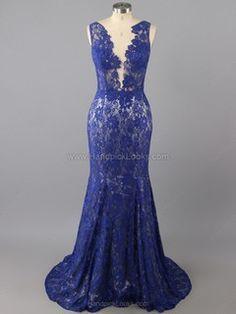 Designer Royal Blue Trumpet/Mermaid V-neck Open Back Lace Prom Dress -US$138.12