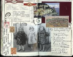 Interesting layout filled with copies of wonderful heritage photos, letters and memorabilia...looks like Grandma's old journal.