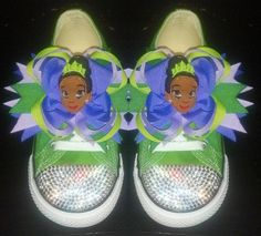 Inspired by Princess & the Frog Converse Bling by pnpbydanai, $80.00