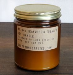 custom listing for kelsey - no. 4: teakwood & tobacco - 8 oz soy wax candle - apothecary style jar burns for forty hours via Etsy. So masculine!