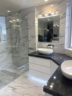 600x600 Rectified Gloss White Marble Look Glazed Porcelain Tile Installed by Dream Tiling Marble Look Tile, Black Marble, Travertine Bathroom, Tile Installation, Tiling, Porcelain Tile, Mirror, Furniture, Home Decor