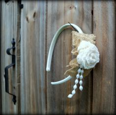 Girls Headband Accessory - Burlap, Lace, and Pearls - PLUS - Matching Canvas Tote. $18.00, via Etsy.