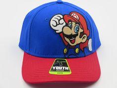 Super Mario Nintendo Blue Youth Childrens Size Snapback Hat CLEARANCE SALE #Bioworld #BaseballCap