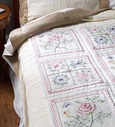Bucilla ® Stamped Cross Stitch - Quilt Blocks - Floral | Plaid Enterprises