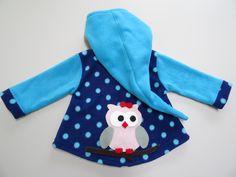 Jacken - Kinder-Zipfeljacke mit Eulen, Wunschgröße u.Farben - ein Designerstück von Irianna bei DaWanda