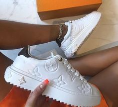 Louis Vuitton LV Women's flat sole low top lace up casual shoes thick sole board shoes from ShoSouvenir. Saved to Things I want as gifts. Lv Sneakers, White Sneakers, Sneakers Fashion, Jordan Sneakers, Air Force Sneakers, Nike Air Force, Sneaker Outfits, Ropa Louis Vuitton, Louis Vuitton Boots