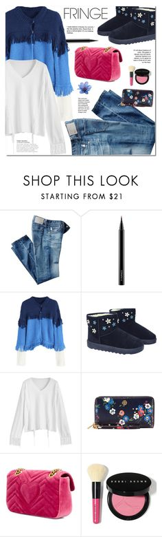 """""""Shimmy Shimmy: Fringe"""" by ansev ❤ liked on Polyvore featuring AG Adriano Goldschmied, MAC Cosmetics, Tory Burch, Gucci and Bobbi Brown Cosmetics"""