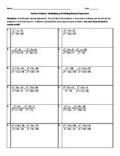 Rational Expressions Worksheets Algebra 2 Worksheets ...