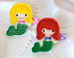 Cute Little Mermaid Ariel Inspired Hair Clip- Choose Red or Yellow Hair