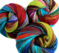 Gemmy Batts by Hobbledehoy -- rainbow blended batts with silver sparkle. For hand-spinning or felting!