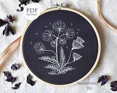 Hand embroidery Pattern White flowers PDF Instant Download