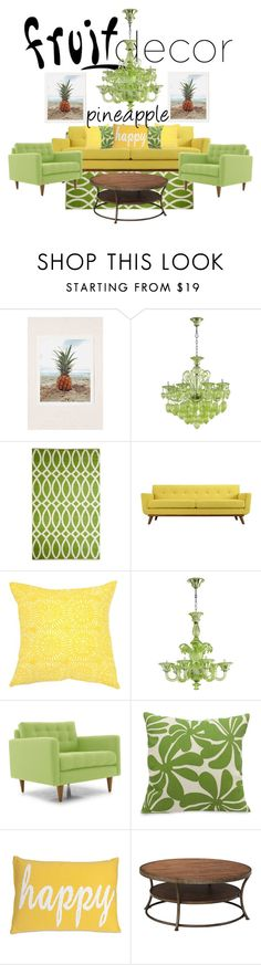 """""""Pineapple Paradise"""" by madiw20-20 ❤ liked on Polyvore featuring interior, interiors, interior design, home, home decor, interior decorating, Urban Outfitters, Kate Spade, Bandhini Homewear Design and Joybird Furniture"""