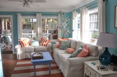 Jane Coslick Cottages : New Year ..New Cottage..Introducing BLUES AWAY Coral and Turquoise