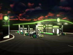 another translucent acrilic Station To Station, Filling Station, Bp Gas, Ev Charging Stations, Urban Design Plan, Store Layout, Safari, Car Photography, City Buildings