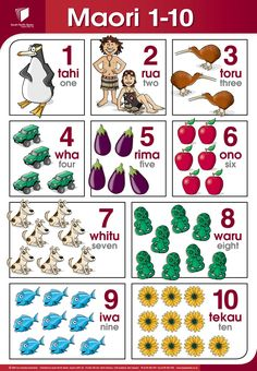New Zealand Maori - 1 - 10 Numbers poster in Maori Enjoy learning Te Reo… Waitangi Day, Maori Words, Numbers 1 10, Maori Art, Kiwiana, Cultural Diversity, Thinking Day, School Resources, Early Childhood Education