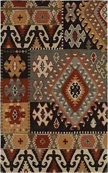 Beautiful tribal style in a hand-tufted wool rug for Western, global, Santa Fe interiors.