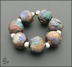 Mother Earth  Rounds  Lampwork Glass Beads by by BeadsbyClareScott, $48.51