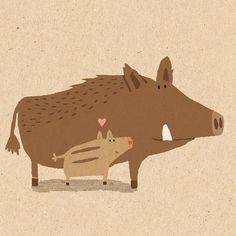 Happy Mother's Day to all the mamas!  #illustration #mothersday #wildboar #mama
