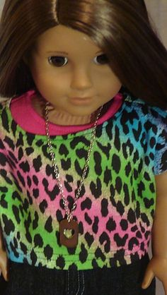Rainbow Animal Print Top And Denim Mini Skirt For American Girl Or Similar 18-Inch Dolls