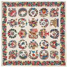In the stairway hangs an appliquéd Baltimore Album Quilt, 1848-1852, by Elizabeth MacCullough Hervey. Of the twenty-five blocks, three withi...