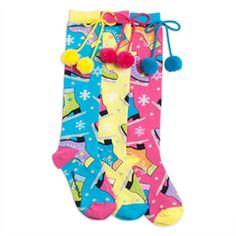 Skates Pom Pom Knee High Socks #iceskating #funkysocks #LittleMissMatched