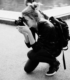 Casual outfits for teens . Photography . Backpack . Messy bun . Camera
