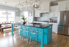 turquoise kitchen island | Nest Interiors