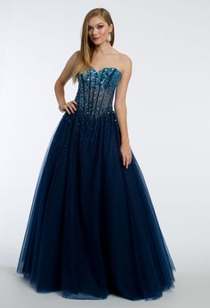 Head to the ball in this breathtaking prom dress! With its ombre illusion design, sweetheart neckline, ballgown skirt, beaded sequin bodice, and corset back, this evening gown is a true dream. #camillelavie