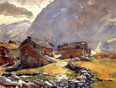 Simplon Pass. Chalets 1911. Джон Сингер Сарджент