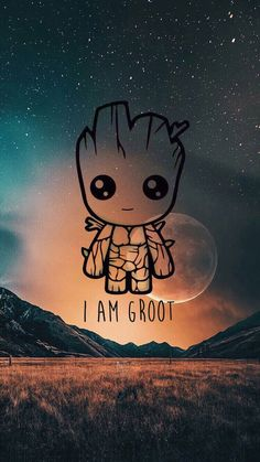 Cute iPhone wallpaper_I'm Groot Cute Cartoon Wallpapers, Cute Wallpaper Backgrounds, Wallpaper Iphone Cute, Galaxy Wallpaper, Wallpaper Wallpapers, Cute Disney Drawings, Cute Drawings, Disney Phone Wallpaper, Avengers Wallpaper