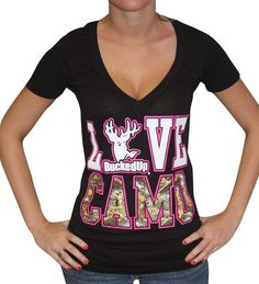 Love Camo Ladies Deep V Neck Tee Shirt by Bucked Up